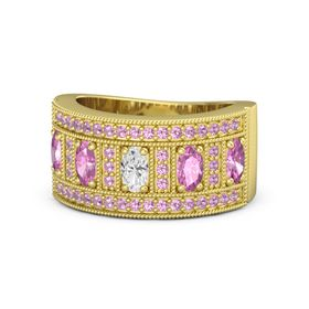 Oval White Sapphire 14K Yellow Gold Ring with Pink Sapphire and Pink Tourmaline
