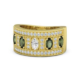 Oval White Sapphire 14K Yellow Gold Ring with Green Tourmaline and Diamond