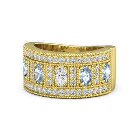 Oval White Sapphire 14K Yellow Gold Ring with Aquamarine and Diamond