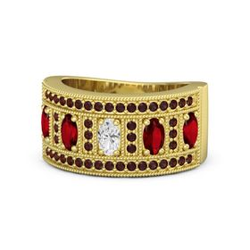 Oval White Sapphire 14K Yellow Gold Ring with Ruby and Red Garnet