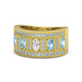 Oval White Sapphire 14K Yellow Gold Ring with Blue Topaz