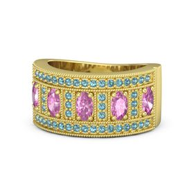 Oval Pink Sapphire 14K Yellow Gold Ring with Pink Sapphire and London Blue Topaz