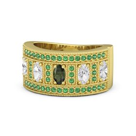 Oval Green Tourmaline 14K Yellow Gold Ring with White Sapphire and Emerald