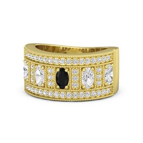 Oval Black Onyx 14K Yellow Gold Ring with White Sapphire