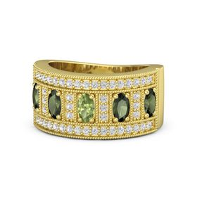 Oval Peridot 14K Yellow Gold Ring with Green Tourmaline and White Sapphire