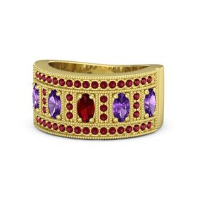 Oval Ruby 14K Yellow Gold Ring with Amethyst and Ruby