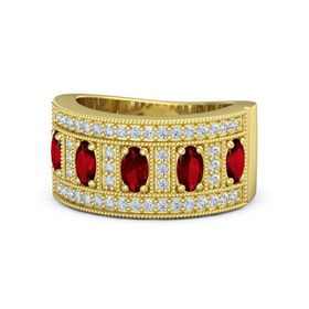 Oval Ruby 14K Yellow Gold Ring with Ruby & Diamond