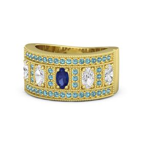 Oval Sapphire 14K Yellow Gold Ring with White Sapphire & London Blue Topaz