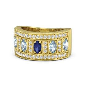 Oval Blue Sapphire 14K Yellow Gold Ring with Aquamarine and White Sapphire