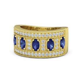 Oval Sapphire 14K Yellow Gold Ring with Sapphire & Diamond