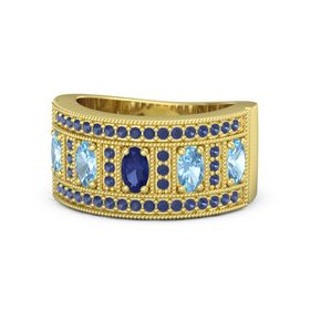 Oval Blue Sapphire 14K Yellow Gold Ring with Blue Topaz and Blue Sapphire