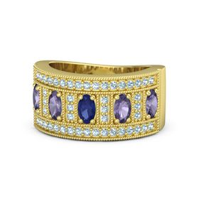 Oval Blue Sapphire 14K Yellow Gold Ring with Iolite and Aquamarine