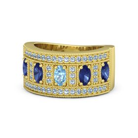 Oval Blue Topaz 14K Yellow Gold Ring with Sapphire & Blue Topaz