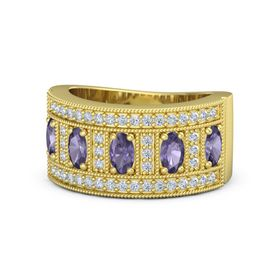 Oval Iolite 14K Yellow Gold Ring with Iolite & Diamond