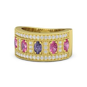 Oval Iolite 14K Yellow Gold Ring with Pink Tourmaline and White Sapphire