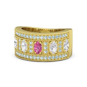 Oval Pink Tourmaline 14K Yellow Gold Ring with White Sapphire and Aquamarine