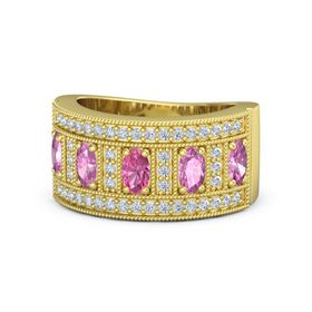 Oval Pink Tourmaline 14K Yellow Gold Ring with Pink Sapphire and Diamond