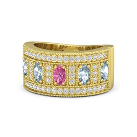 Oval Pink Tourmaline 14K Yellow Gold Ring with Aquamarine & White Sapphire