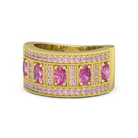 Oval Pink Tourmaline 14K Yellow Gold Ring with Pink Tourmaline