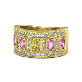 Oval Yellow Sapphire 14K Yellow Gold Ring with Pink Sapphire & Blue Topaz