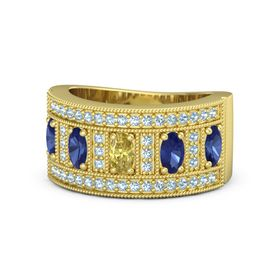 Oval Yellow Sapphire 14K Yellow Gold Ring with Sapphire & Aquamarine