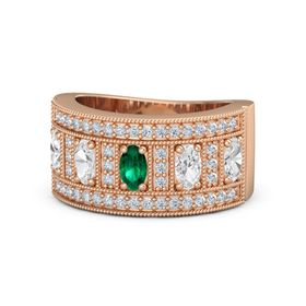 Oval Emerald 18K Rose Gold Ring with White Sapphire & Diamond