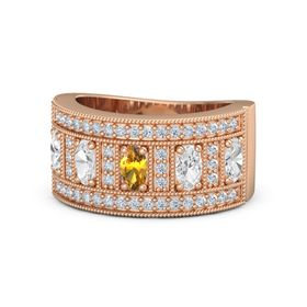 Oval Citrine 18K Rose Gold Ring with White Sapphire and Diamond