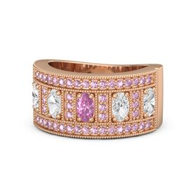 Oval Pink Sapphire 18K Rose Gold Ring with White Sapphire and Pink Sapphire