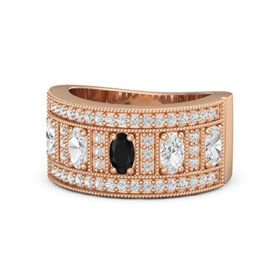 Oval Black Onyx 18K Rose Gold Ring with White Sapphire