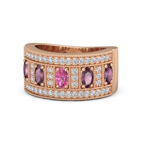 Oval Pink Tourmaline 18K Rose Gold Ring with Rhodolite Garnet and Diamond