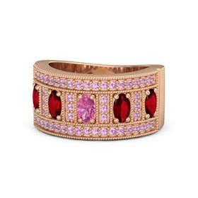 Oval Pink Tourmaline 18K Rose Gold Ring with Ruby and Pink Tourmaline