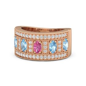 Oval Pink Tourmaline 18K Rose Gold Ring with Blue Topaz and White Sapphire