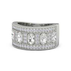 Oval Rock Crystal 18K White Gold Ring with White Sapphire and Diamond