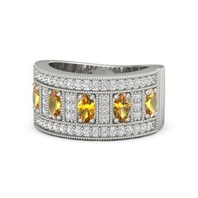 Oval Citrine 18K White Gold Ring with Citrine and White Sapphire