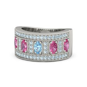 Oval Blue Topaz 18K White Gold Ring with Pink Tourmaline and Aquamarine