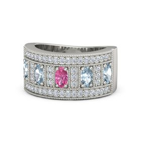 Oval Pink Tourmaline 18K White Gold Ring with Aquamarine and Diamond