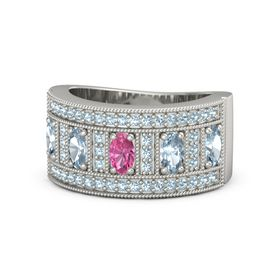 Oval Pink Tourmaline 18K White Gold Ring with Aquamarine