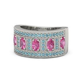 Oval Pink Tourmaline 18K White Gold Ring with Pink Tourmaline and London Blue Topaz