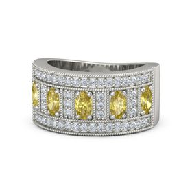 Oval Yellow Sapphire 18K White Gold Ring with Yellow Sapphire and Diamond