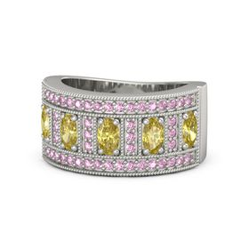 Oval Yellow Sapphire 18K White Gold Ring with Yellow Sapphire and Pink Sapphire