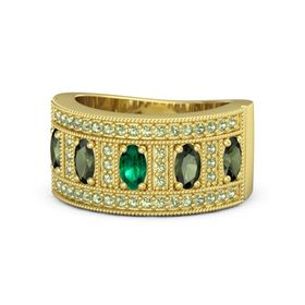 Oval Emerald 18K Yellow Gold Ring with Green Tourmaline and Peridot