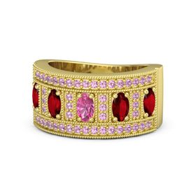 Oval Pink Tourmaline 18K Yellow Gold Ring with Ruby and Pink Tourmaline