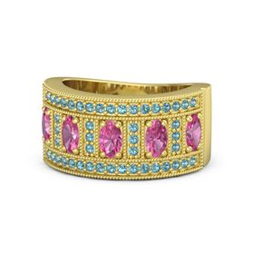 Oval Pink Tourmaline 18K Yellow Gold Ring with Pink Tourmaline and London Blue Topaz