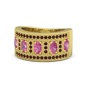 Oval Pink Tourmaline 18K Yellow Gold Ring with Pink Tourmaline and Red Garnet
