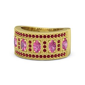 Oval Pink Tourmaline 18K Yellow Gold Ring with Pink Tourmaline and Ruby