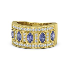 Oval Tanzanite 18K Yellow Gold Ring with Tanzanite and Diamond