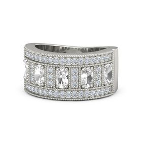 Oval Rock Crystal Palladium Ring with Rock Crystal and Diamond