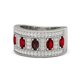 Oval Red Garnet Palladium Ring with Ruby and White Sapphire