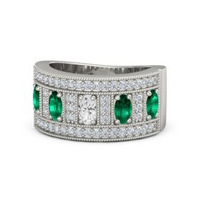 Oval White Sapphire Palladium Ring with Emerald and Diamond