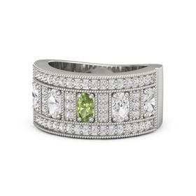 Oval Peridot Palladium Ring with White Sapphire